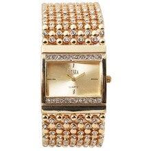 Nuevas Mujeres de La Moda Pulsera de Acero Inoxidable Del reloj del Reloj de diamantes de Imitación de Cristal de Cuarzo Analógico Reloj de pulsera Relogio Feminino