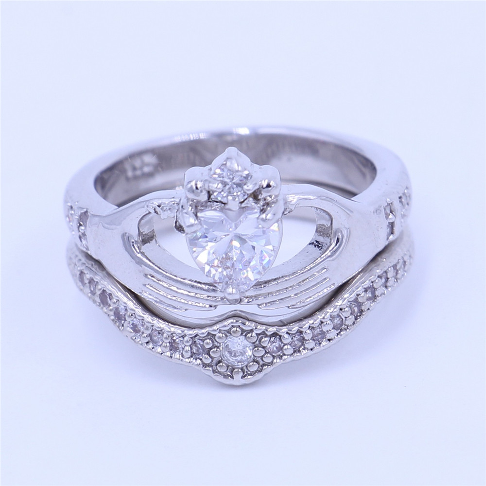 Couple Claddagh Ring Diamonique Jewelry Wedding Band Rings Set For Women  Heart 5a Cz White Gold