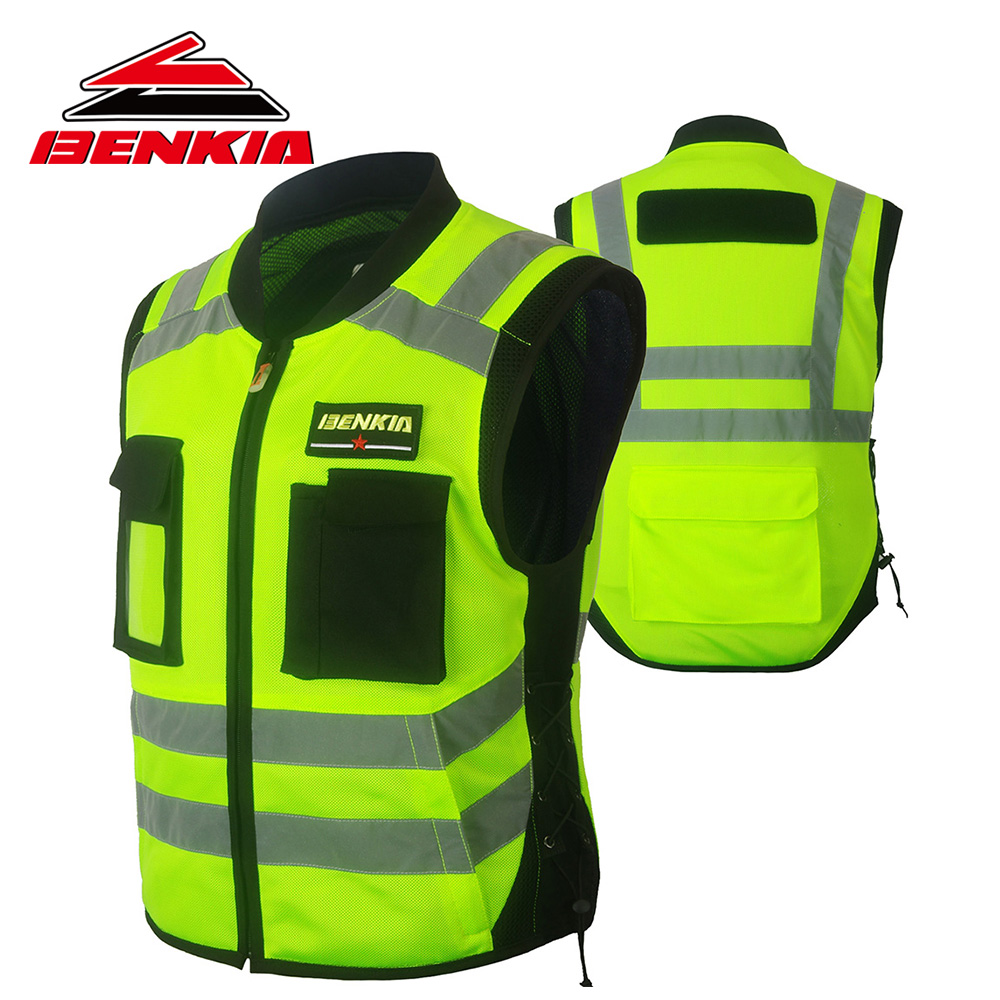 BENKIA Motorcycle Jacket Racing Reflective Vest High Visibility Safety Vest Warning Clothing With Pocket Chaqueta Moto JK15