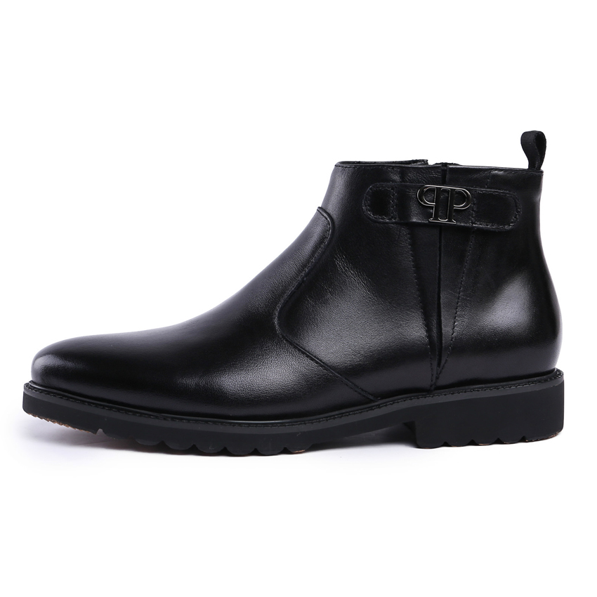 New British Designer Genuine Leather Mens Handmade Ankle Boots Round Toe Platform Martin Cowboy Man Formal Dress Shoes YMX225
