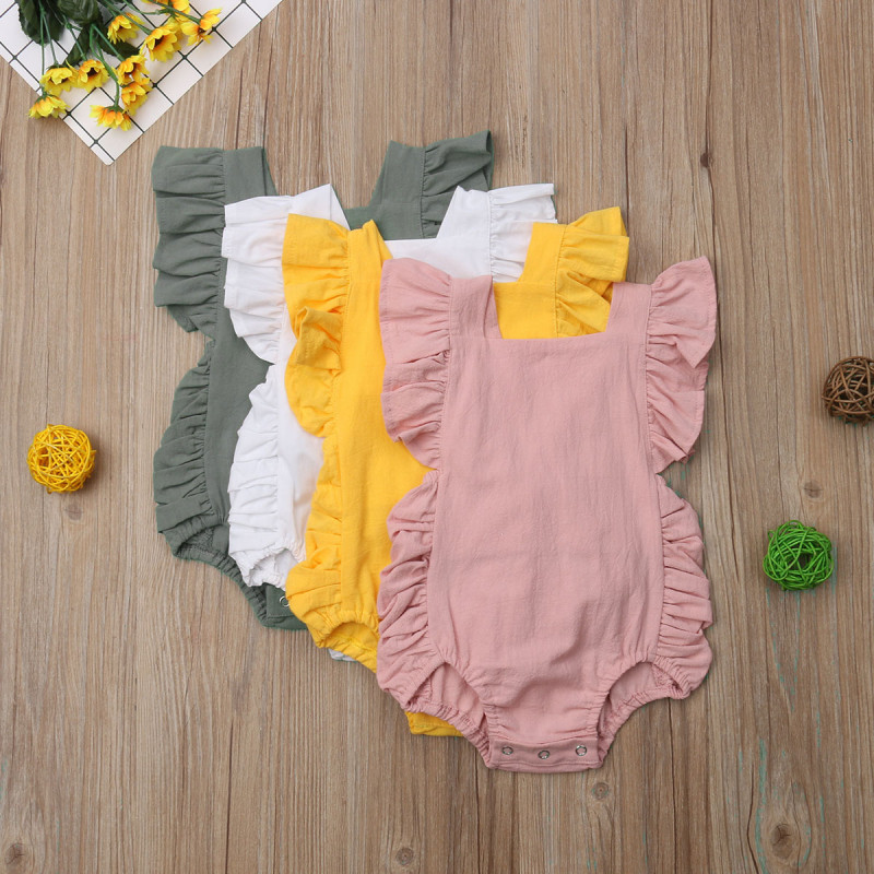 4 Colors Baby Girl Infant Sleeveless Bodysuits Ruffle Cotton Jumpsuit Outfit Sunsuit 0-2 Years