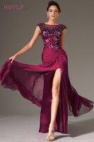 Purple Evening Dresses 2018 Mermaid Cap Sleeves Chiffon Lace Slit Sexy Plus Size Long Evening Gown Prom Dresses Robe De Soiree
