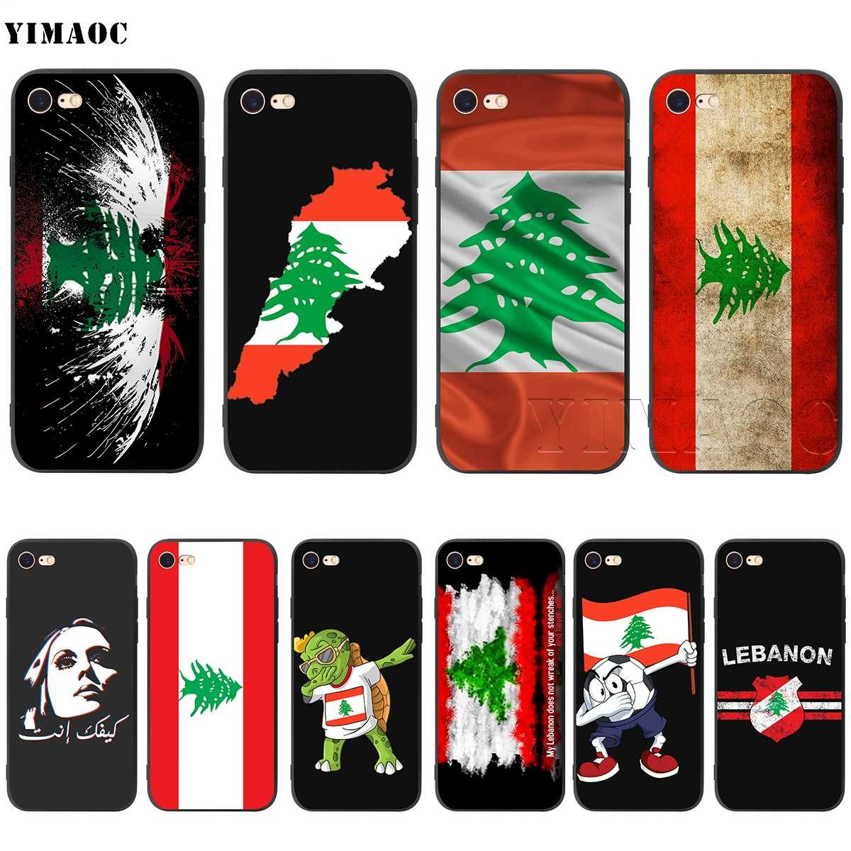 YIMAOC Lebanese Lebanon Flag Silicone Soft Case for iPhone 11 Pro XS Max XR X 8 7 6 6S Plus 5 5S SE