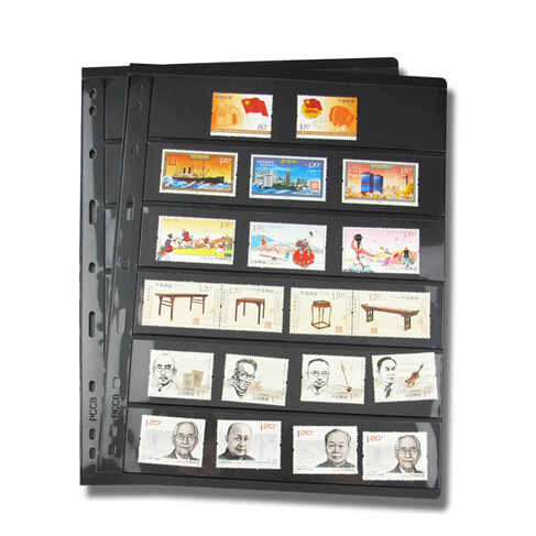 10PCS/4PCS Postage Stamp Album Sheets PCCB 6 Rowall Post Stamps Album Pages  Accommodate About 30 Stamps/PC Collecting Book