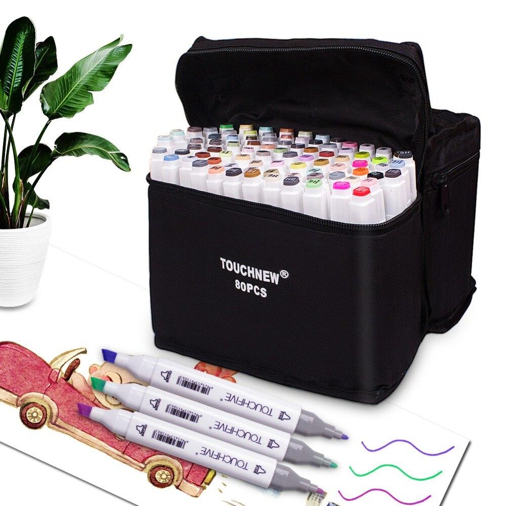 TOUCHNEW 30/40/60/80/168 Farbe Dual Tip Haut Ton Alkohol-basierend Marker Skizze art Marker Set Malerei Manga und Design für Kinder