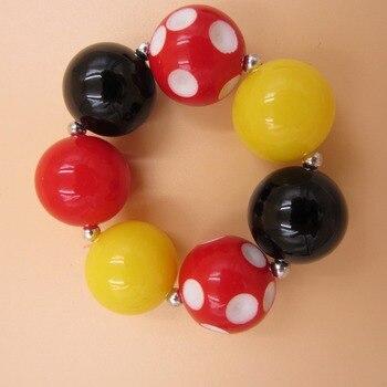 20mm Acrylic Beads Bubblegum Bracelets China Post Air Mail Free Shipping Kids Jewelry Strand Chunky Bracelets Bangle Girls Jewel 4