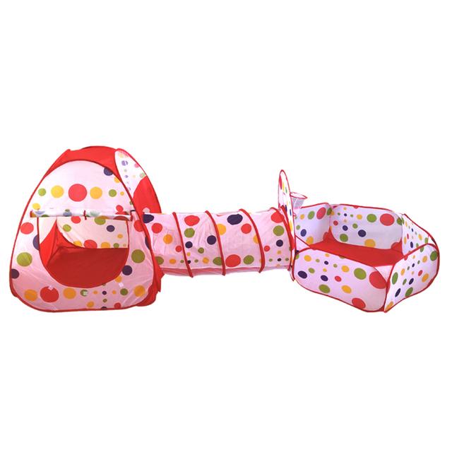 Piscina-Tube-Tenda 3 pc Pop-up Jogar Tenda ChildrenTunnel Crianças Casa de Jogo Do Bebê Oceano Piscina de Bolinhas Diversão ao ar livre Tendas de Brinquedo