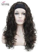 Strong beauty perruque synthétique longue bouclée, bandeau noir, marron, blond pour femmes
