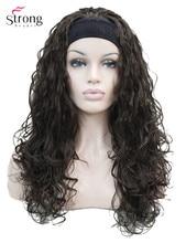 Strongbeauty peruca cabelo sintético, peruca longa encaracolada loira, castanho, perucas das mulheres