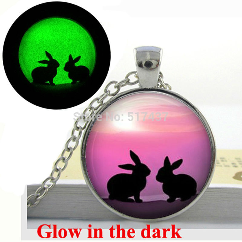 Glow in the dark Necklace Pendants Rabbits Vintage Silhouette Rabbit Necklace Art Photo Glass Dome Glowing Jewelry