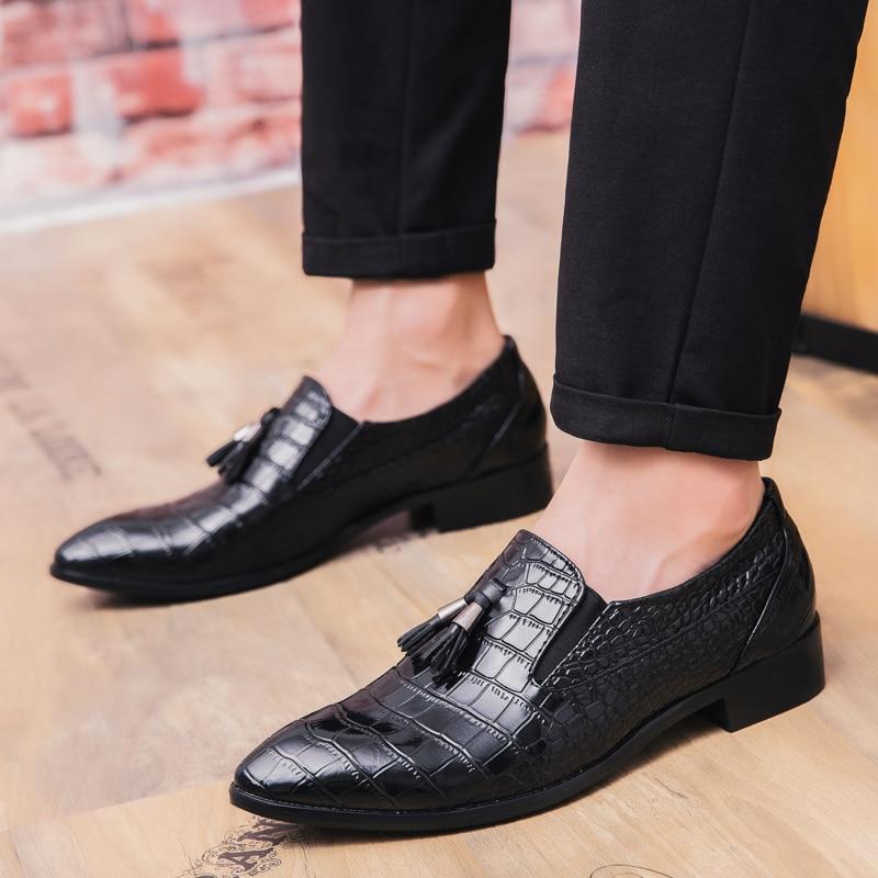 Fashion Snake Skin Leather Shoes Men Luxury Brand Designer Fish Dress Male Footwear Wedding Italian Brogue Oxford Shoes For Men Men's Shoes
