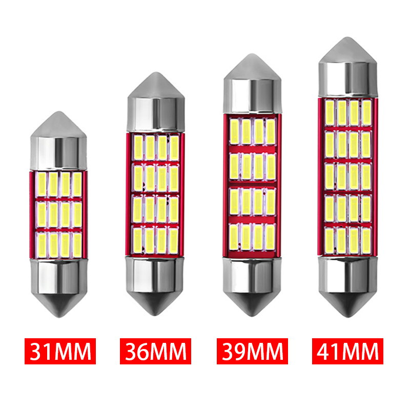 1x Festoon 31mm 36mm 39mm 41mm C5W CANBUS NO Error Auto Reading Light <font><b>12</b></font> <font><b>SMD</b></font> 4014 LED Car Interior Dome Map Light Bulb White image