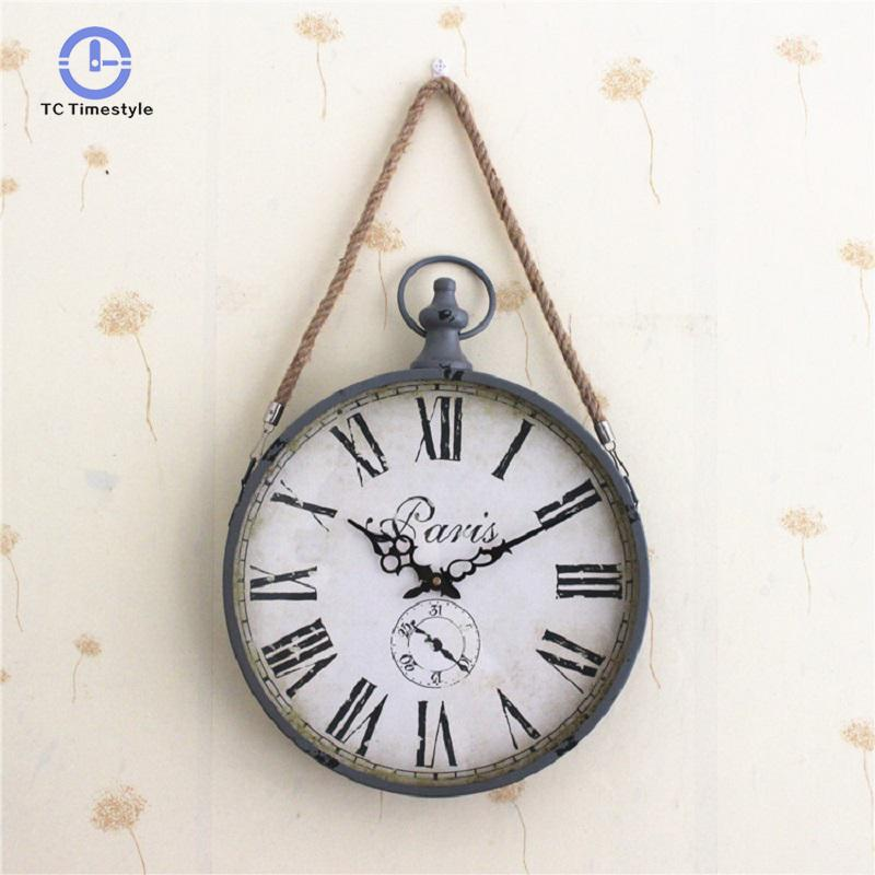 Wall Clock Metal Round Hemp Rope Roman Numerals Watches For Bedroom And Living Room Decoration Accessories