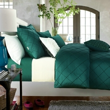 luxury bed linen washed silk hand embroidered checks bedding set king queen size duvet cover bed sheet pillow case/turquoise