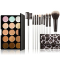 Professional 15 Colors Make Up Set Contour Face Cream Makeup Concealer Palette + 10 Pcs Cosmetic Brush Set FE#8