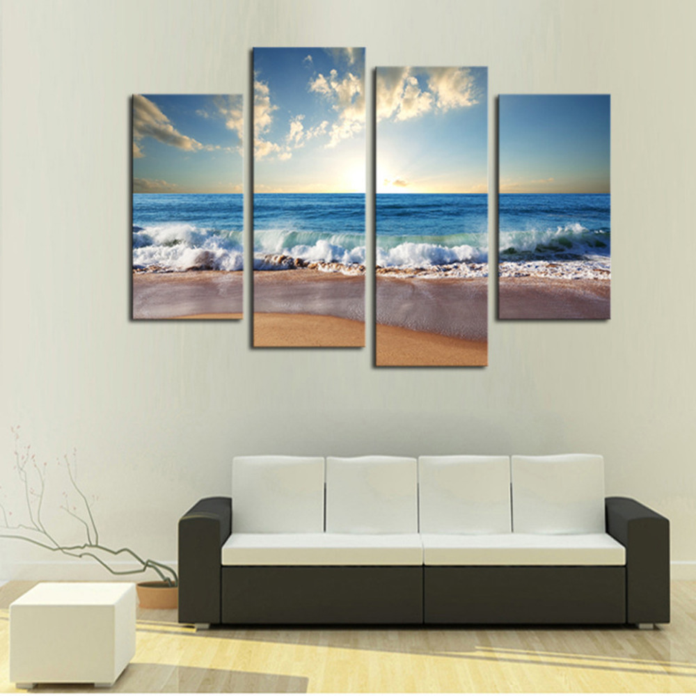 Large Wall Pictures For Living Room: 4 Panels Sand Beach Large HD Canvas Print Painting For