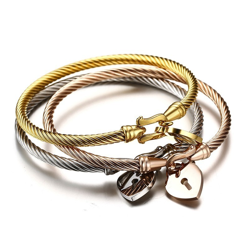 3PCS Stylish Womens Twist Cable Bangle With Hanging Heart Lock Charm Bracelet in Stainless Steel Female Jewelry3PCS Stylish Womens Twist Cable Bangle With Hanging Heart Lock Charm Bracelet in Stainless Steel Female Jewelry