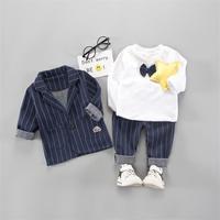 Newborn Toddler Infant Baby Boy Clothes Set Outwear Formal Suit 3 Pieces Tops+Stripe coat+Pants Gentleman Baby Clothing Set 1 4T