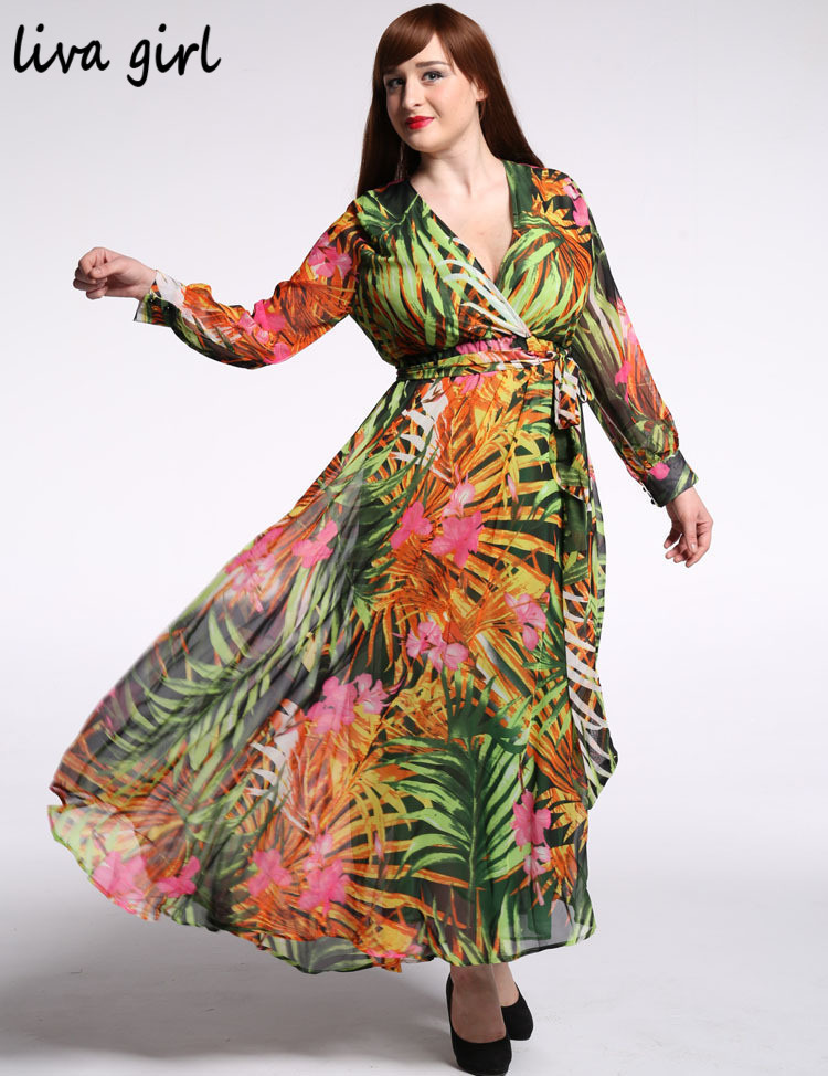 Buy Cheap Plus Size 7XL 6XL 5XL 4XL 3XL Maxi Summer Beach Dresses Vestidos Femininos Tropical Print Long Sleeve Chiffon V-Neck Long Dress