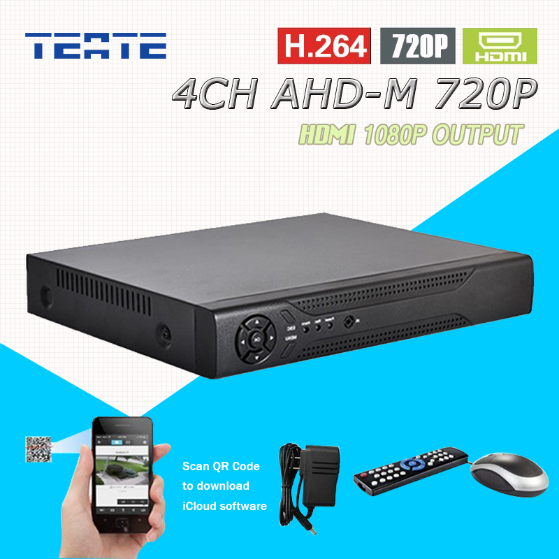 TEATE AHD-M 4ch CCTV System 720P 4 channel HD AHD HDMI 1080P dvr audio security surveillance H.264 dvr recorder T-G04D7PB08 hd 8ch ahd tvi cvi dvr recorder surveillance h 264 up to 2mp 1 sata onvif hdmi vga p2p for ahd analog camera security system