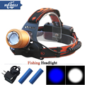 Blu-ray White light fishing hunting camping led headlamp Zoomable Rechargeable headlight head flashlight cree q5 18650 Battery