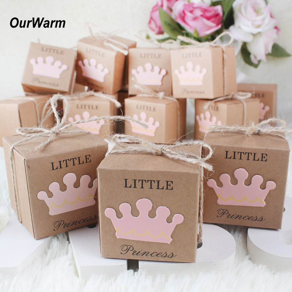 OurWarm Birthday Party Favor Bags 100PCS Prince Princess Kraft Paper Candy Box Gift Boxes for Gender Reveal Party Decorations