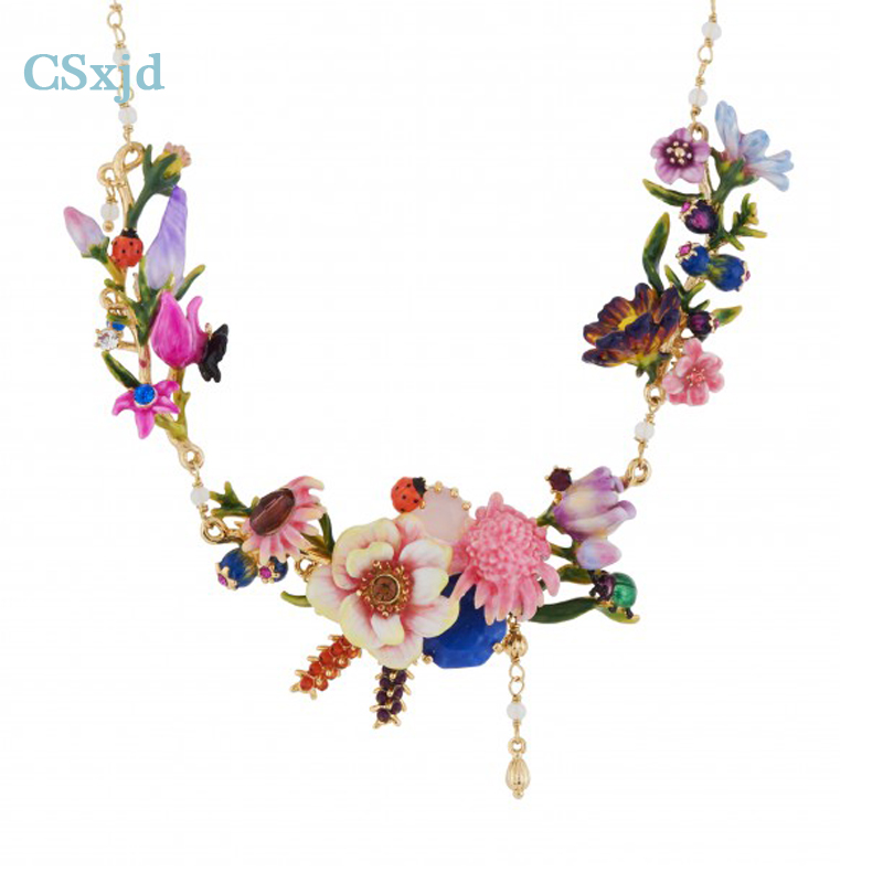 CSxjd 2017 New luxury Winter Monet Garden Flower Enamel Enamel For Necklace Jewelry