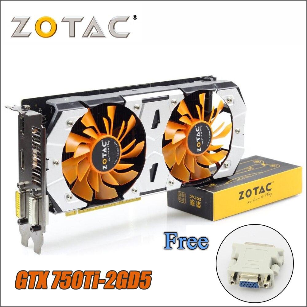 Оригинал ZOTAC видеокарта GPU GTX 750Ti 2 ГБ 128Bit GDDR5 Графика карты для nVIDIA GeForce GTX750 Ti 2 г 750 адаптер VGA Бесплатная