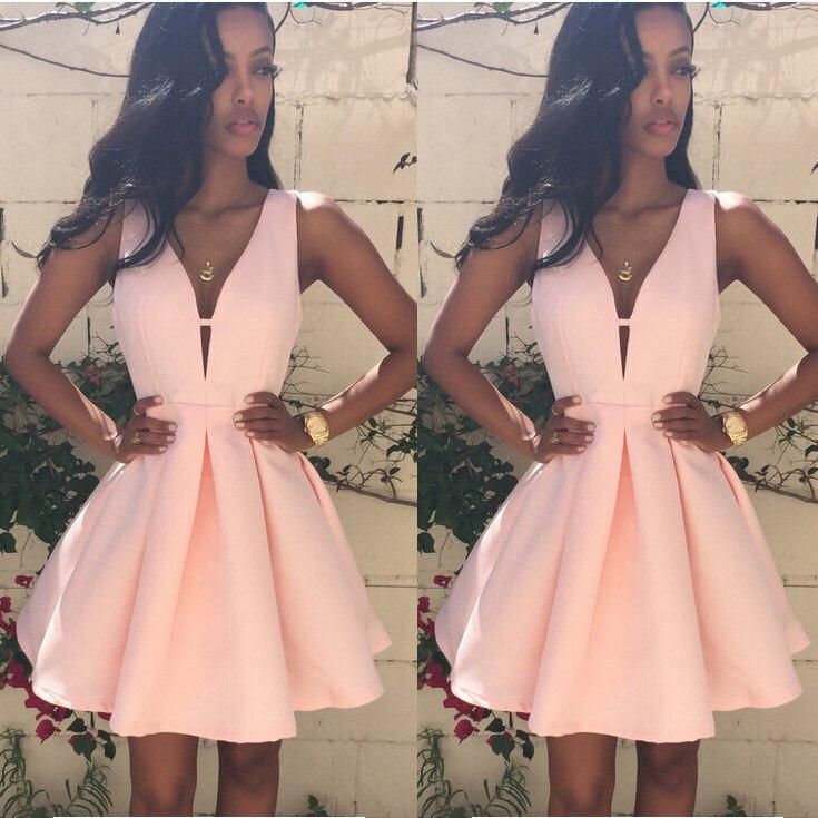 ITFABS Hot Summer Pink Women Dresses Sexy Women Sleeveless V-neck Homecoming Wedding Bridesmaids Evening Party Ball Gown Dress