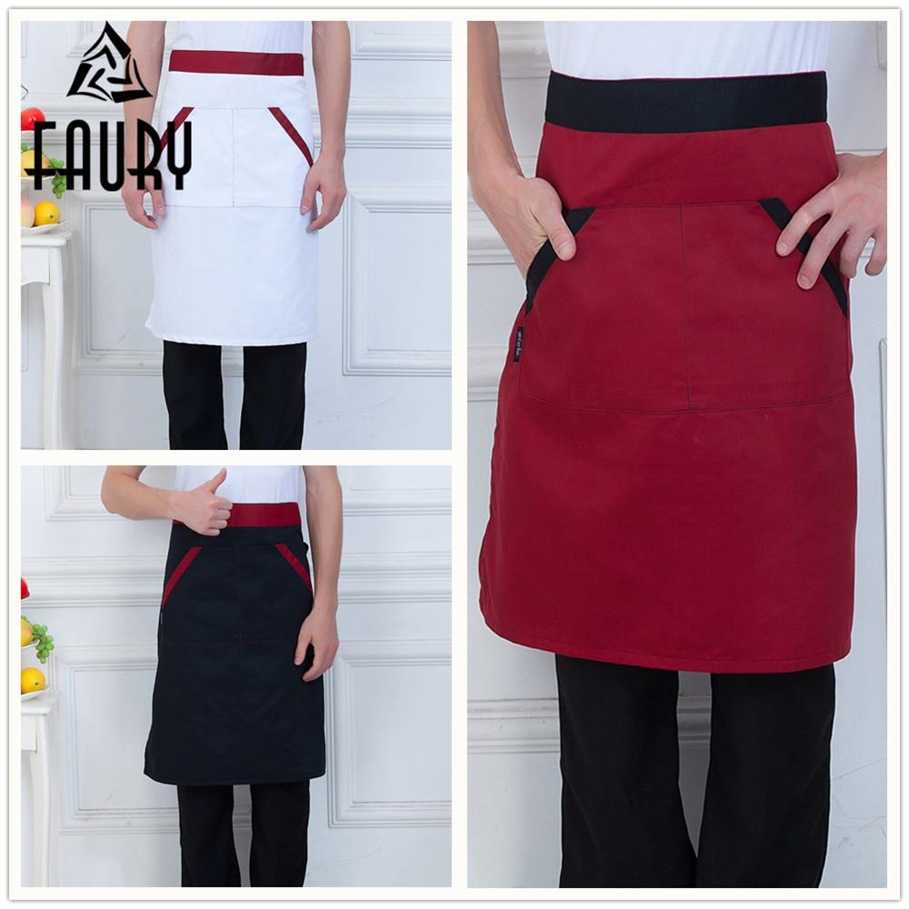 Unisex Spliced Pocket Aprons Restaurant Home Kitchen Cozinha Chef Cooking Work Wear Uniforms Striped Waiter Half Apron
