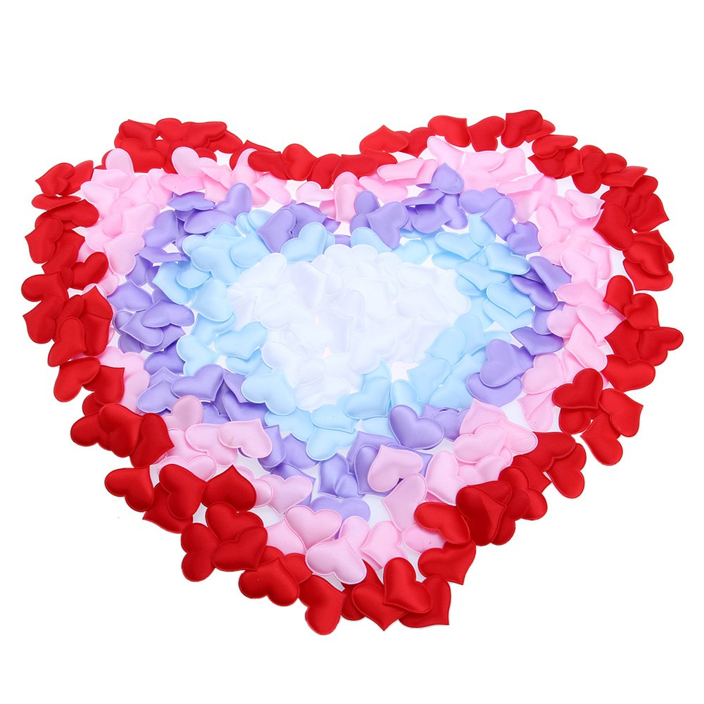 2016 New 1000pcs Padded Fabric Heart Applique For .