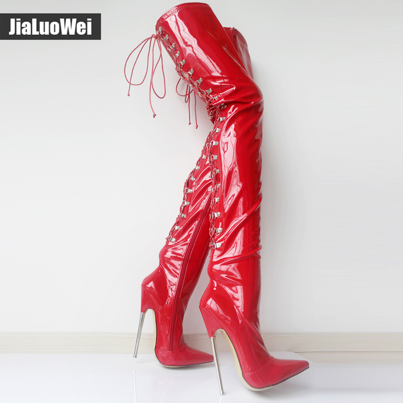 jialuowei 18cm High Metal Heel Laceup Thigh Goth Punk Pinup Cosplay Patent Sexy Fetish Back Cross-tied Crotch High Boots цена и фото