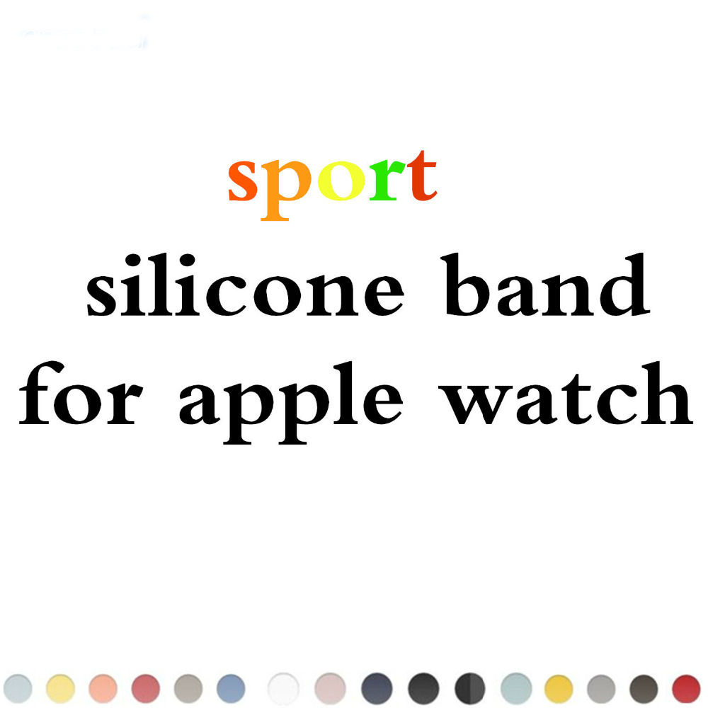 New Sport Silicone band strap For Apple Watch band 42 mm/38 Rubber watchband stainless steel Adapter for Iwatch 1 2 3 band eache silicone watch band strap replacement watch band can fit for swatch 17mm 19mm men women