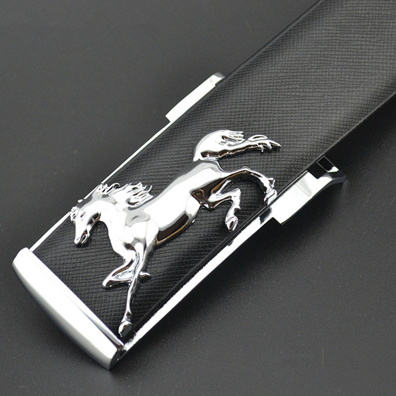 EL BARCO New Leather Belt For Men Luxury Designer Cowhide Male Waist Belts Black Coffee Brown Yellow White Strap Horse Buckle