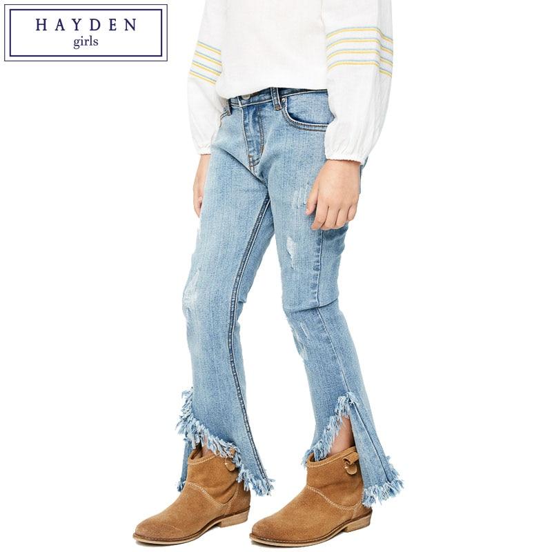 ФОТО HAYDEN Teen Girls Flare Jeans Kids Fashion Wide Ripped Denim Pants Children's Boot Cut Trousers Tassel Frayed Hem 2017 Spring