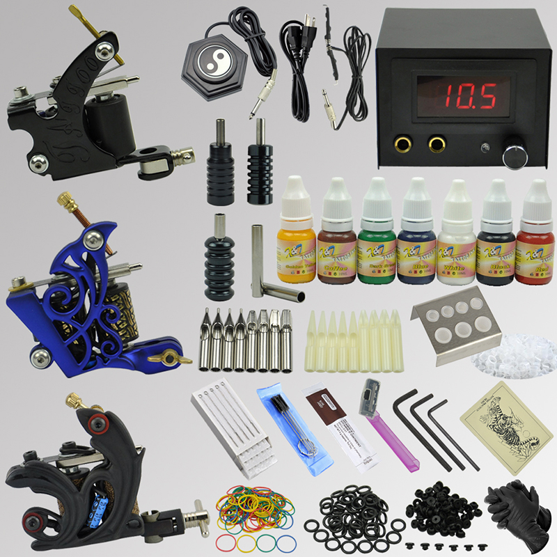 OPHIR 350pcs Pro Complete Tattoo Kit with 3 Tattoo Machine Guns Body Art Tattoo Inks Grips Needles Nozzles Power Supply _TA080 p80 panasonic super high cost complete air cutter torches torch head body straigh machine arc starting 12foot