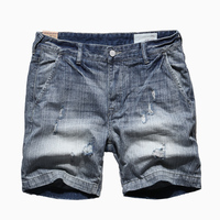 men jeans short pants high quality Men's Casual Jeans Destroyed Knee Length Hole Ripped Pants KZ915