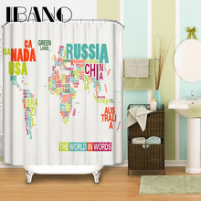 World Map Shower Curtain Pattern Customized Shower Curtain Waterproof Bathroom Fabric 165x180cm Shower Curtain For Bathroom