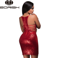 Hot Selling 2017 Women's Sexy Deep V Neck Glitter Sequin Dress Bodycon Ruched Club Wear Party Dress Red Dark Green Pink