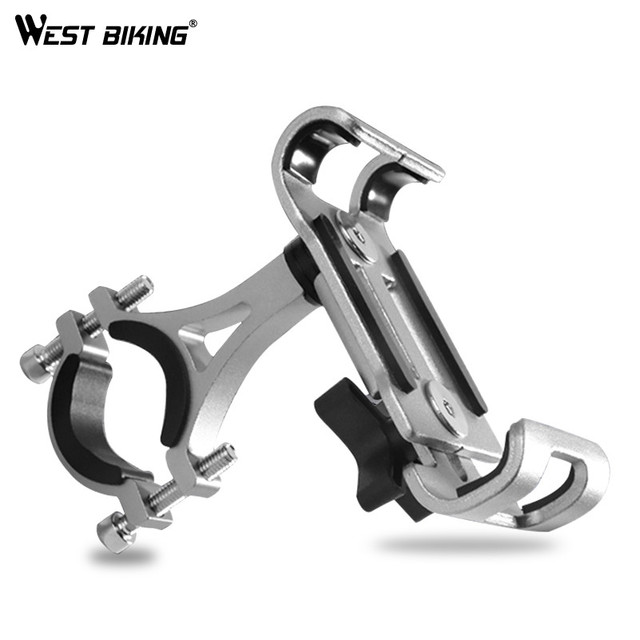 WEST BIKING Aluminium Alloy Bike Phone Holder 4.7-6.5″ Cell Phone GPS Mount Holder Bicycle Phone Support Cycling Bracket Mount