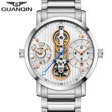 New GUANQIN Mechanical Men Watches Creative Automatic Skeleton Men Watch Tourbillon Wrist Sapphire Waterproof Watch Men все цены