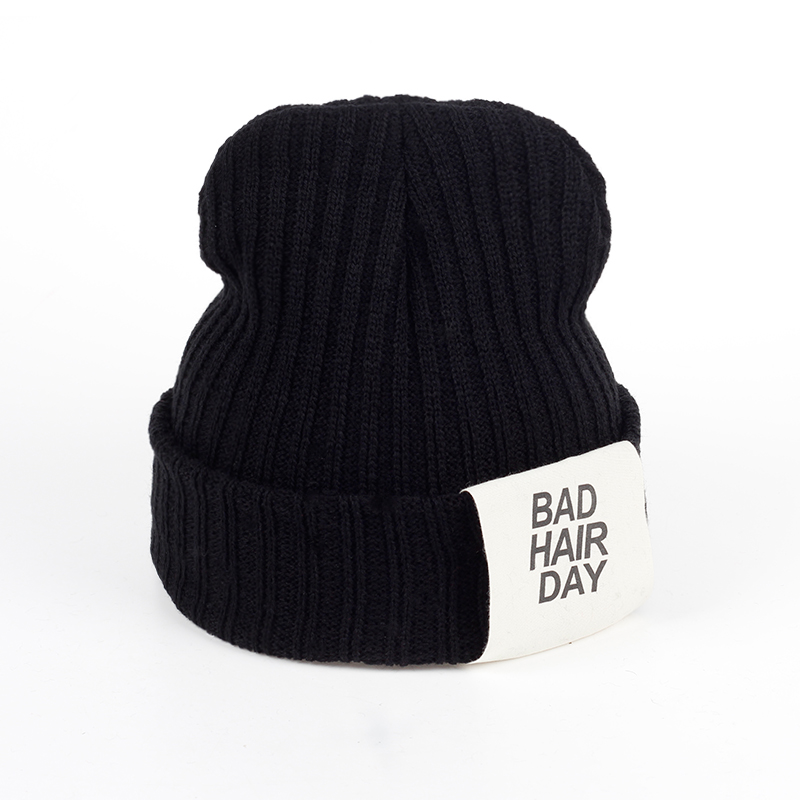 Adult Unisex Bad Hair Day Patch Knitted Beanie Cap Women's Winter Warm Hat Outdoor Ski Caps For Men Fashion Knit Hats