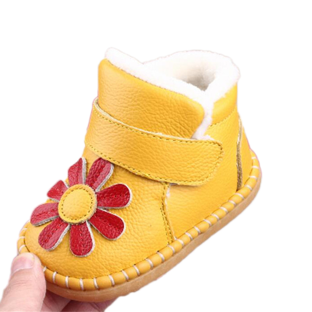 Fashion Newborn Baby Girl Boots Flower Shoes First Walker Soft Crib Shoes Toddler Infant Warm Fleece Baby Girls Winter Boot 2016