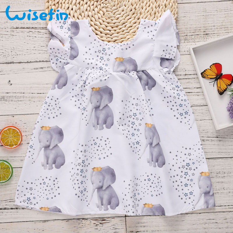 Wisefin Toddler Girl Dresses Summer 2018 Cute Elephant Print Baby Princess Dresses Party Weddings Fashion Girl Summer Clothes