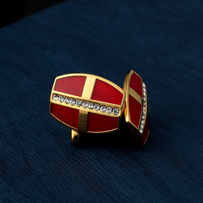 KFLK jewelry shirt red cufflink for mens Brand cuff buttons Crystal cuff links High Quality Gold-color abotoaduras Free Shipping