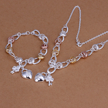 2015new 925 sterling silver18k rose golden key heart charms necklace bracelet for women't fine fashion jewerly trendy promotion