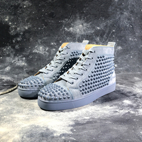 Gary Suede Leather Rivets Spikes Studded Shoes High end Stars Rivet Loafers Men Casual Shoes Lace Up Shoes Men Zapatos Hombre