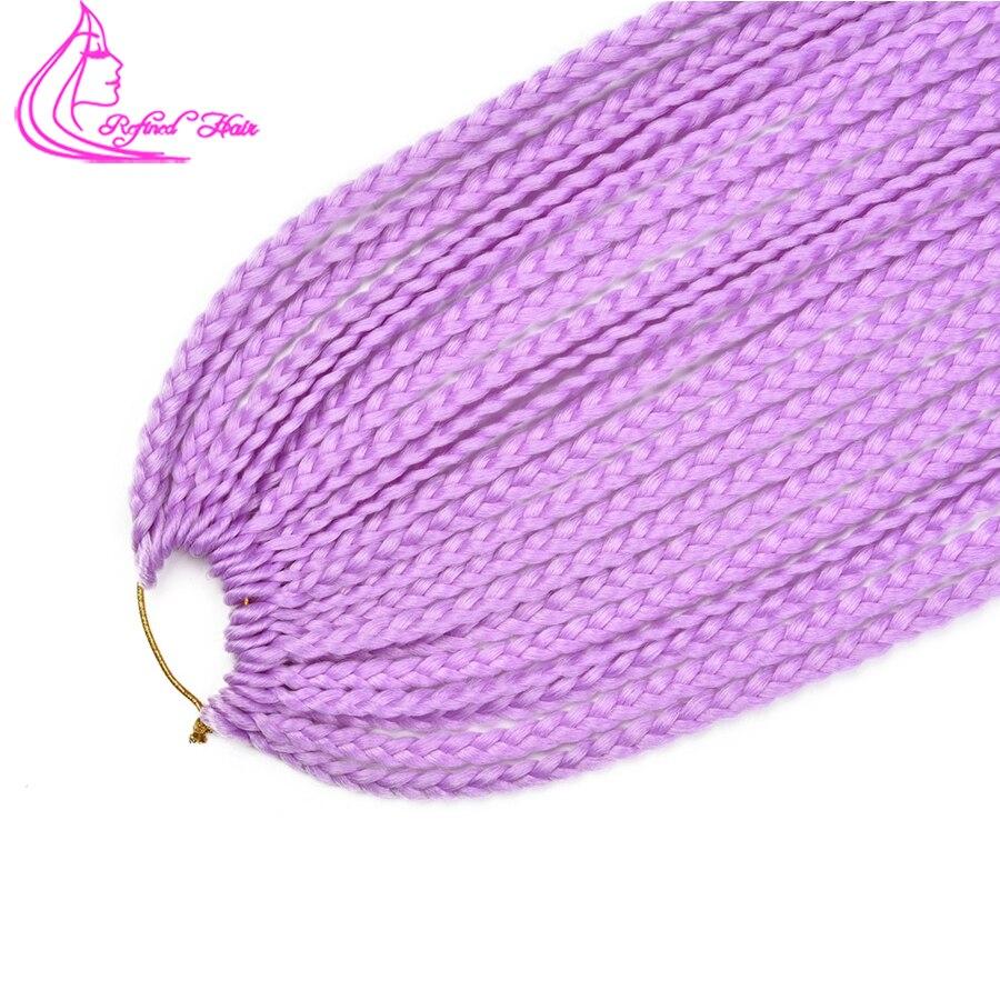 Refined Hair 24Inch Box Braids Senegalese Twist Crochet Braid Hair Heat Resistant Fiber 24Roots Synthetic 3S Braiding Hair Bluk