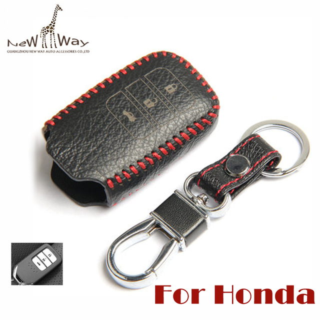Leather Car Key Cover Case for Honda Fit Accord Odyssey/Leather Key Cover Key Bag in Black Red/Keychain Key Ring