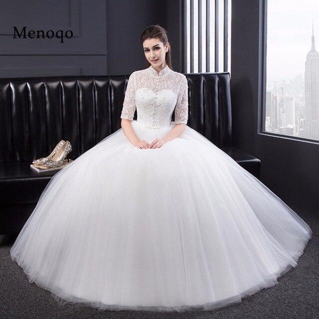 Vintage Lace Half Sleeves Wedding Dresses Modest 2017 Bride Gowns Vestido De Noiva Robe